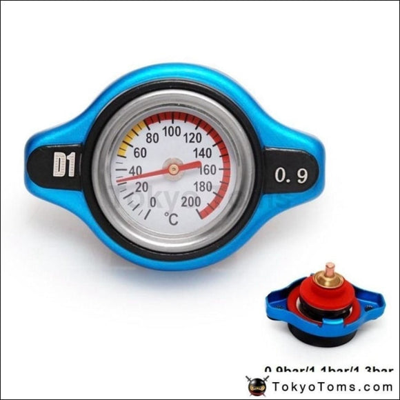 D1 Spec Thermostatic Gauge Radiator Cap 0.9Bar/1.1Bar/1.3Bar Small Head Blue Cover D1-Sxg09