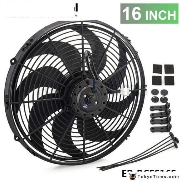Epman Racing Car Universal 12V 16 Electric Fan Curved S Blades Radiator Cooling For Oil