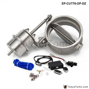 Exhaust Control Valve Set Cutout 3 76Mm Pipe Open Style With Vacuum Actuator Wireless Remote