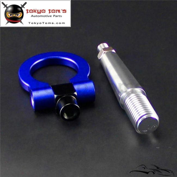 Front Rear Folding Racing Tow Hook Ring For Mitsubishi Lancer EVO Ex 08-11 Blue