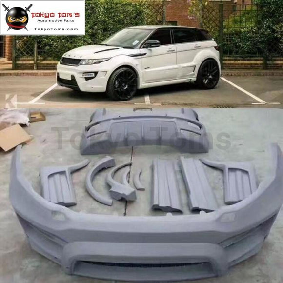 Frp Unpainted Wide Car Body Kit Front Rear Bumper Side Skirts Round Eyebrows For Land Rover Range