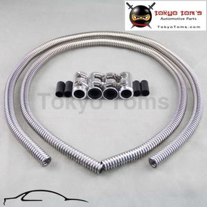 Heater Hose Stainless Polished 2 X 48 Inch Universal Fit With Chrome Caps Oil Cooler