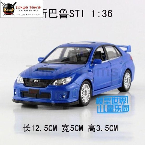 High Simulation 1:36 Subaru Sti Alloy Pull Back Model Cars Metal Gift Toys Double Door Car Wholesale