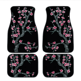 Custom Cherry Blossom Floor Mats Black