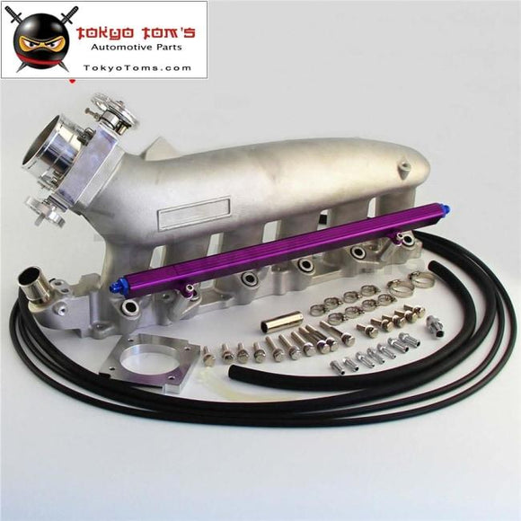Intake Manifold +Fuel Rail & 80Mm Vq35Tps Throttle Body For Nissan Skyline R32 R33 Rb25 Rb25Det