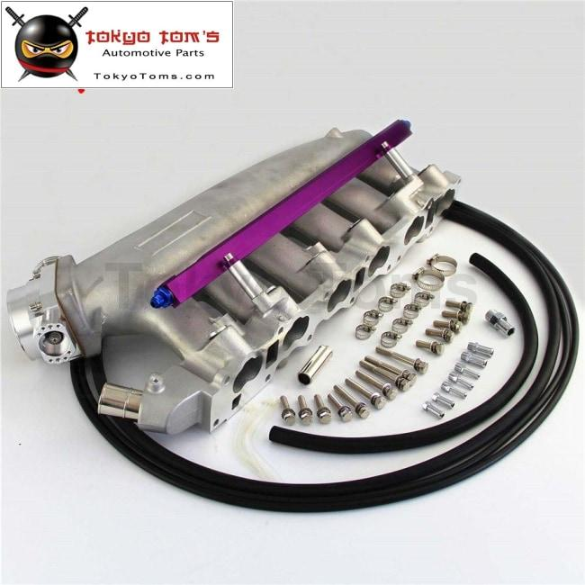 Intake Manifold +Fuel Rail &90-80mm Q45 Throttle Body Fits For Nissan  Skyline R32 R33 Rb25 Rb25Det GTs-T