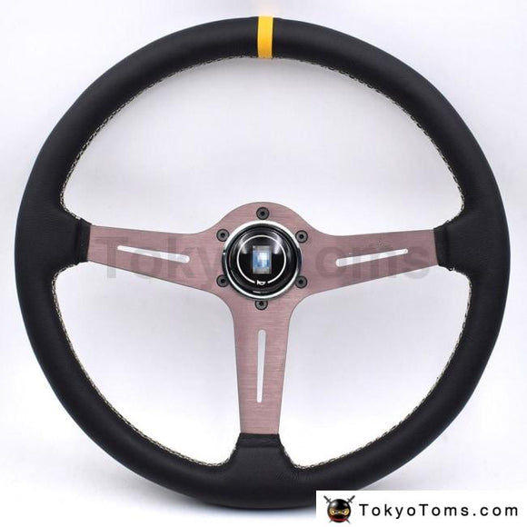 Italy Nd 380Mm/15Inch Racing Car Real Leather Drifting Steering Wheel
