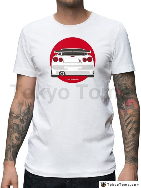 Mens T-Shirts Summer Style Fashion Swag Men Hot Sale Skyline R34 Gtr White Tee Clothing