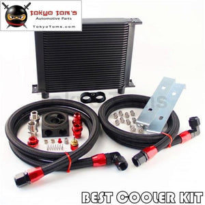 New An10 30 Row Oil Cooler + Thermostat Sandwich Plate Kit For Japan Car Black Oil Cooler