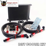 New AN10 30 Row Oil Cooler + Thermostat Sandwich Plate Kit For Japan Car Black