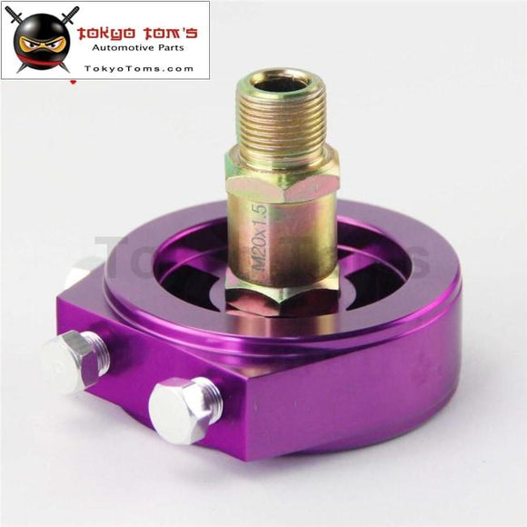 Oil Filter Sandwich Adapter Aluminum Universal Cooler Plate Purple