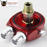 Oil Filter Sandwich Adapter Red Aluminum Universal Oil Filter Cooler Plate Adapter For C Ivic Dsm EVO S14 S15 STI Rsx Prelude