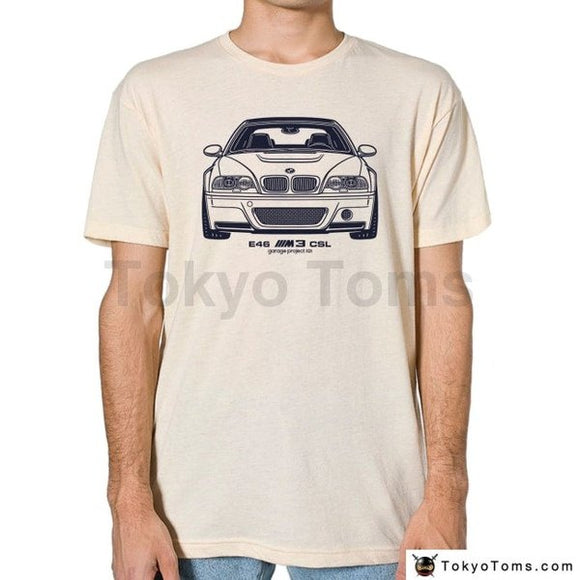 Print T-Shirt Mens Short Classic German Car Fans E46 M3 Csl Graphic Printed On T-Shirt O-Neck
