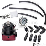 Racing Adjustable Fuel Pressure Regulator Gauge Kit Black +Black Fittings With Oil Line For Bmw Mini