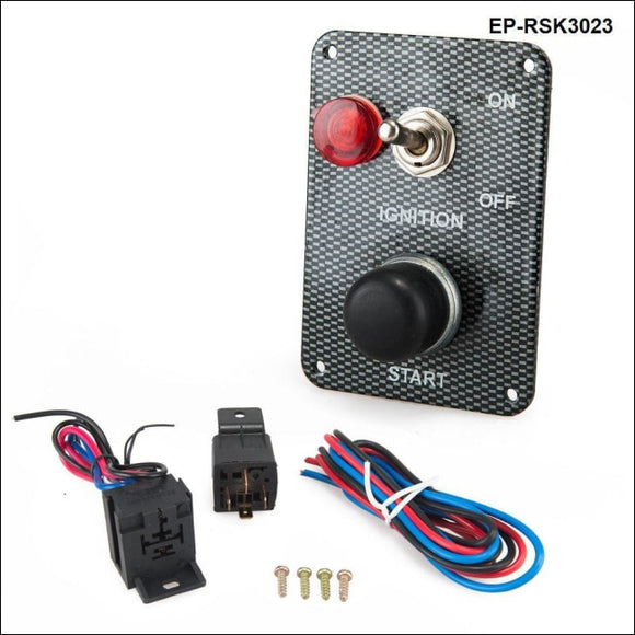 Racing Car Engine Start Button + 1 Toggle Switch Ignition Panel Drift 12V Carbon Fiber Switches