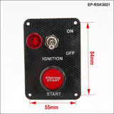 Racing Car Engine Start Button + 1 Toggle Switch Panel Drift 12V Carbon Fiber Switches