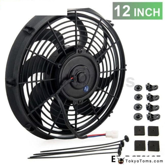 Racing Car Universal 12V 12 Electric Fan Curved S Blades Radiator Cooling For Oil Cooler