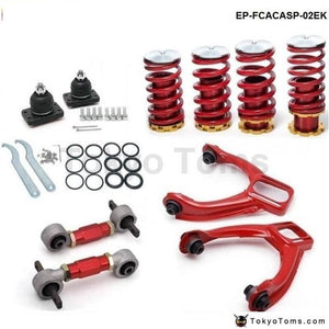 Rear Lower Control Arms+ Front Camber Kits+Lowering Coil Springs Red (Fits For Honda Civic)