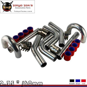 Red 2.36 Inches 60Mm Turbo/supercharger Intercooler Polish Pipe Piping Kit Aluminum