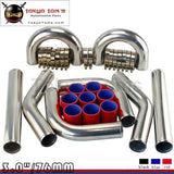 "Red 3"" Inches 76mm Turbo/Supercharger Intercooler Polish Pipe Piping Kit"