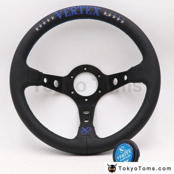 Red/blue Vertex 13Inch Genuine Leather Embroidery Drift Sport Steering Wheels