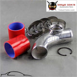 Silver 2.5 63Mm 90 Degree Ssqv Blow Off Valve Adapte Aluminum Pipe+ Red Silicone+Clamps Piping