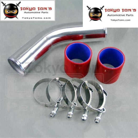 Silver 76Mm 3 45 Degree Aluminum Turbo Intercooler Pipe Piping+Red Silicon Hose + T Bolt Clamps