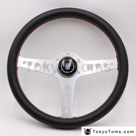 Silver Lightweight Aluminum Nd 14Inch Real Leather Steering Wheel Drift Sport Wheels