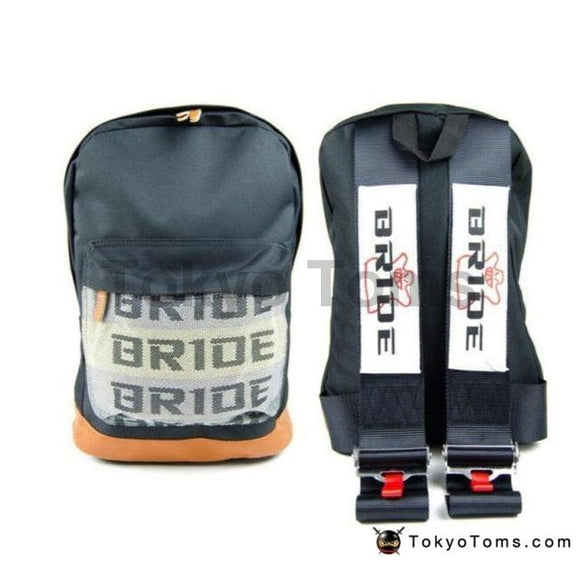 BRIDE Style - Brown Leather - Black BRIDE Strap Backpack