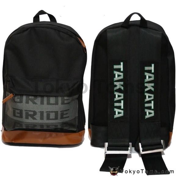 BRIDE Style - Brown Leather - Black Takata Strap Backpack