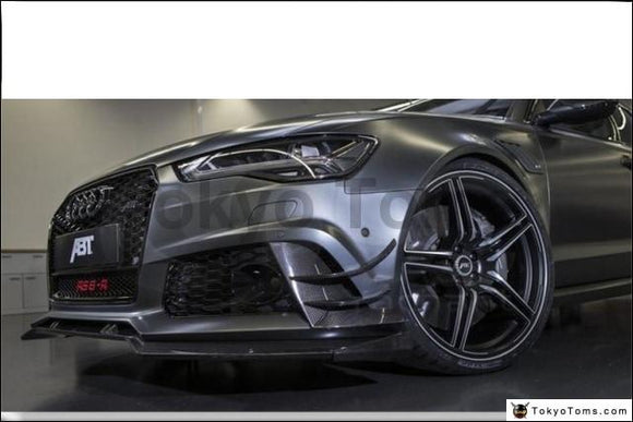 Car-Styling Carbon Fiber Front Bumper Lip Fit For 2013-2016 A6 S6 RS6 RS6-Conversion Front Bumper ABT Style Canards Front Lip