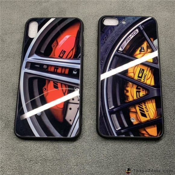 Luxury Racing Car Wheel Brake disc Glass Case for iPhone X Xs Max Xr 8 7 6 6S Plus Motorsport AMG Wheel hub pattern Cover Coque
