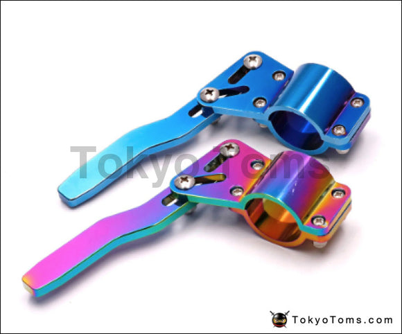 Neo chrome/Burnt Blue Type Aluminium Car Turn Signal Lever Extender Steering Wheel Turn Rod Position Up Kit