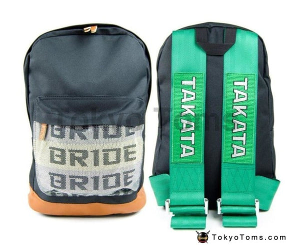 BRIDE Style - Brown Leather - Green Takata Strap Backpack
