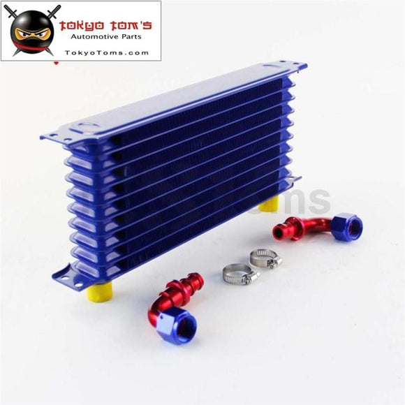 Universal 10 Row An10 Engine Transmission Trust Oil Cooler+ 90 Degree Hose Fittings Blue Cooler