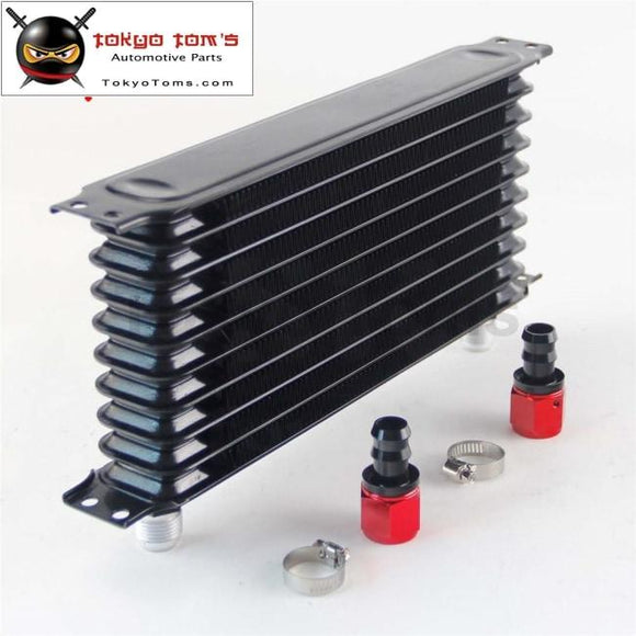 Universal 10 Row An10 Engine Transmission Trust Oil Cooler+ Straight Hose Fittings Black Cooler