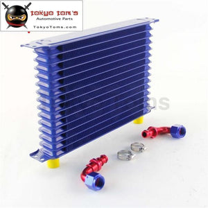 Universal 15 Row An10 Engine Transmission Trust Oil Cooler+ 90 Degree Hose Fittings Blue Cooler
