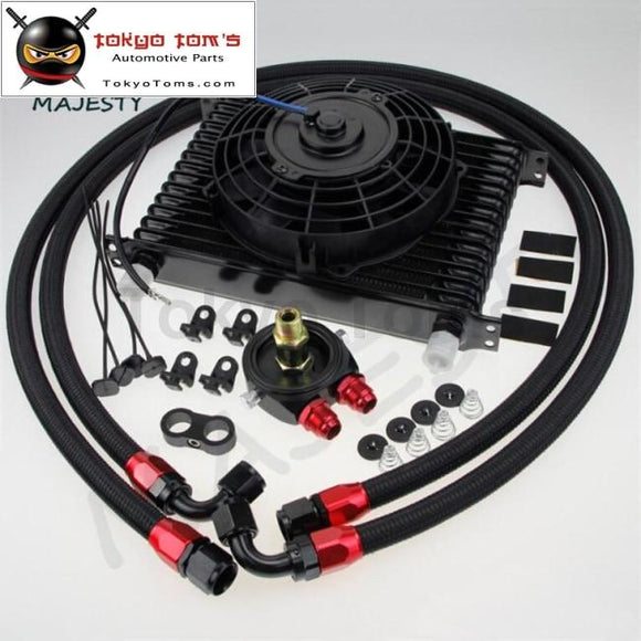 Universal 15 Row Engine Transmission 10An Oil Cooler Kit +7 Electric Fan Kit Bk