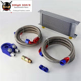Universal 16 Row 248mm AN10 Engine Transmission Oil Cooler British Type + Aluminum Filter Adapter Kit Silver/Blue