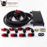 Universal 16 Row 248mm Engine Oil Cooler British Type+M20Xp1.5 / 3/4 X 16 Filter Relocation+5M AN10 Oil Line Kit  Black