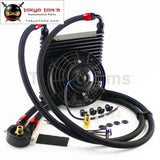 Universal 17Row An10 32Mm Oil Cooler Kit +7 Electric Fan For Track / Race Car