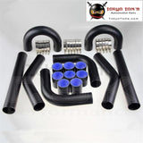 "Universal 2.5"" 63mm Turbo Boost Intercooler Pipe Kit 8 Pcs Aluminum Piping Black"