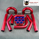 "Universal 2"" 51mm Turbo Boost Intercooler Pipe Kit 8 Pcs Aluminum Piping Red"