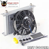 Universal 25 Row 10An Engine An10 Oil Cooler + 7 Electric Fan Silver