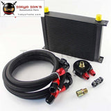 Universal 28 Row 10An Aluminum Engine Transmission Oil Cooler+Black Adapter Kit Cooler