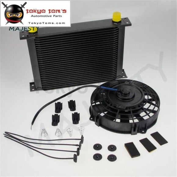 Universal 28 Row 10An Engine Transmission Oil Cooler + 7 Electric Fan Kit Bk