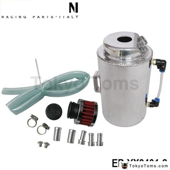 Universal 2L Aluminium Alloy Oil Catch Can Tank With Breather Filter Fuel Systems