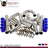 Universal 3 76Mm Turbo Boost Intercooler Pipe Kit Aluminum Piping Blue 8 Pcs