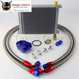 Universal 30 Row 248Mm An10 Engine Transmission Oil Cooler British Type + Aluminum Filter Adapter