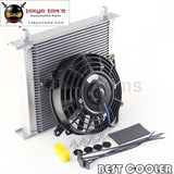 "Universal 34 Row 10An Engine Transmission Oil Cooler + 7"" Electric Fan Kit   Silver"